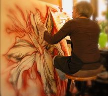 Priscilla Steele drawing a large flower.