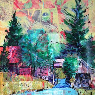 """A Walk Down Century Lane"" by Larry Lerew 24"" x 20"" Acrylic on Recycled Food Carton Collage"