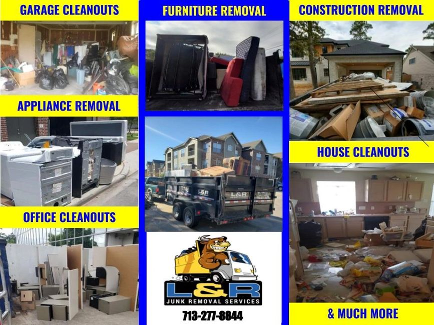 Junk removal in Houston, TX   Appliance furniture construction office house garage clean outs trash