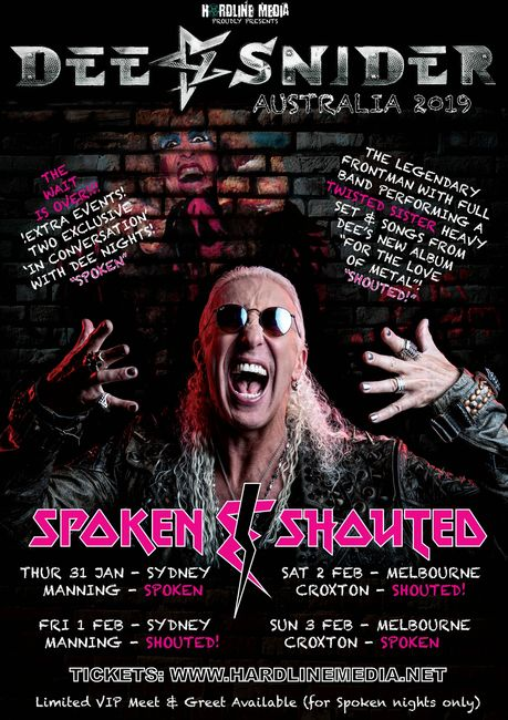 Dee Snider Australian Tour 2019 poster Twisted Sister For the Love of Metal