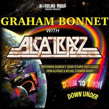 Graham Bonnet with Alcatrazz Australian tour poster rainbow down to earth michael schenker group