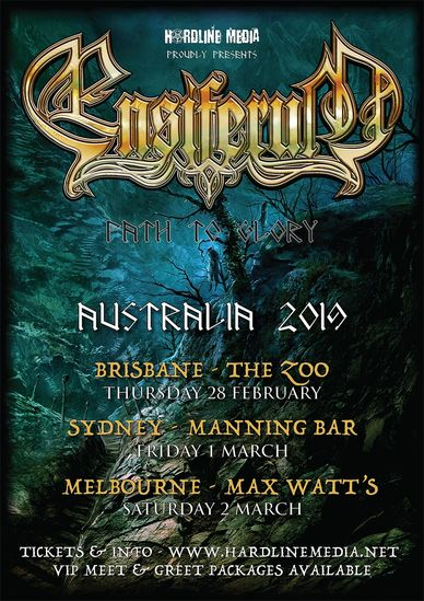 Ensiferum Australian tour 2019 poster path to glory hardline media