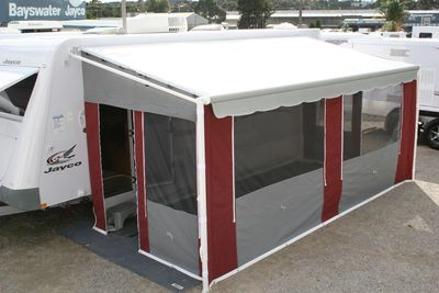 Roll Out Awning with walls, Slate and Burgundy Canvas