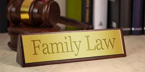 Family Law table sign and Judge's mallet