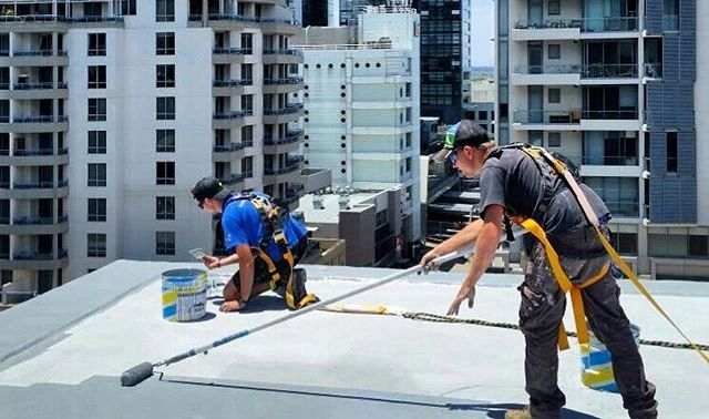 application of remedial membrane on roof top