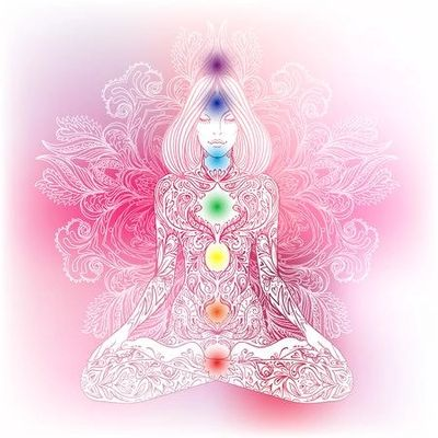 Line figure of a woman seated in lotus yoga position with a pink background and chakra symbols place