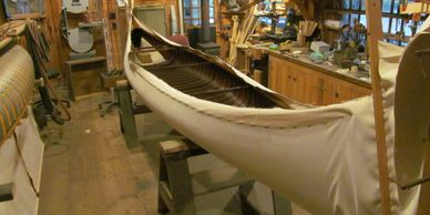 canvasing a wooden canoe