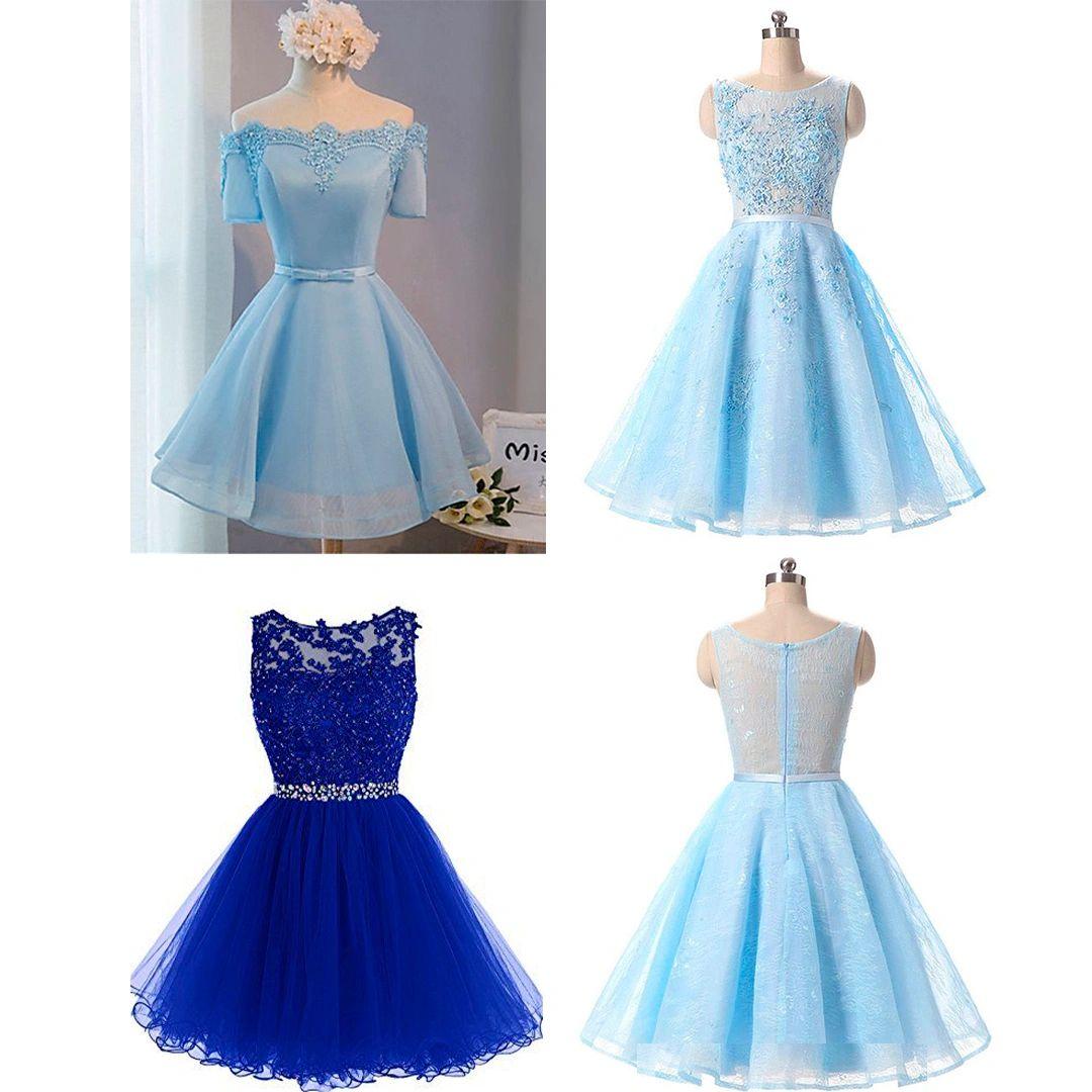 vestidos de xv cortos color celeste