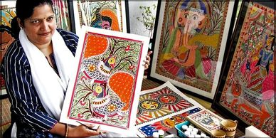 Vidushini displaying some of Mithila w