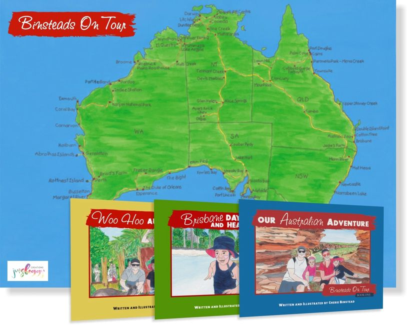 "Books 1,2 & 3 in the new book series ""Binsteads on Tour"" and the map that goes with the series."