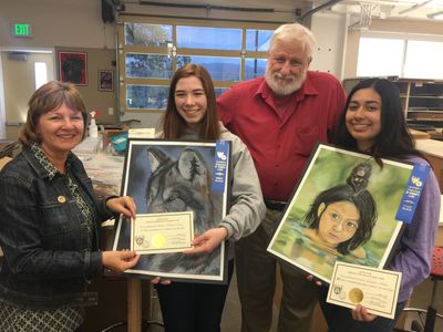 WCH Club President Jill Martin, Allison Ricker, Mr. John Robrock, and senior Jasmine Ulloa.
