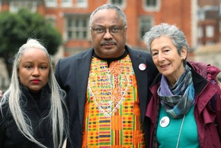 Deborah Hobson (Co-chair Grassroots Black Left), Marc Wadsworth (GBL), Naomi Wimborne-Idrissi (JVL)