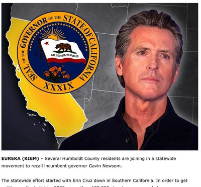 Humboldt county joins Erin Cruz and RANAF in the Recall of Governor Gavin Newsom