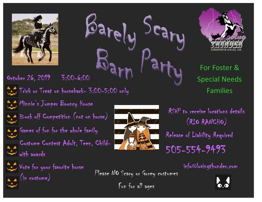 Barely Scary Barn party flyer