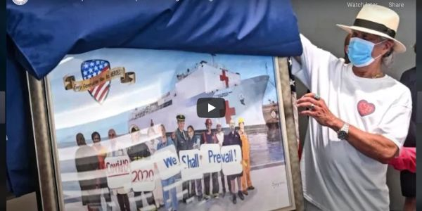 "Youtube video of John Clancy unveiling his painting ""Every Generation Ha Its Heroes"" at Long Island"