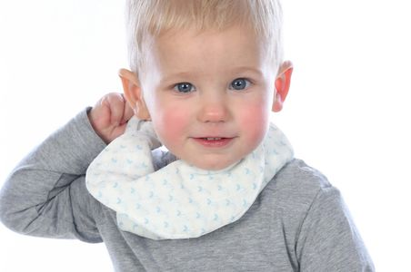 Young boy wearing our organic cotton bib 3 in 1 style in blueberry shade