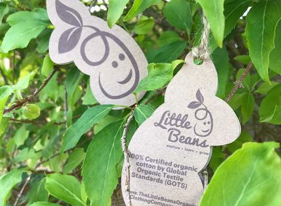 Little Beans Organic Clothing Company recyclable packaging tags
