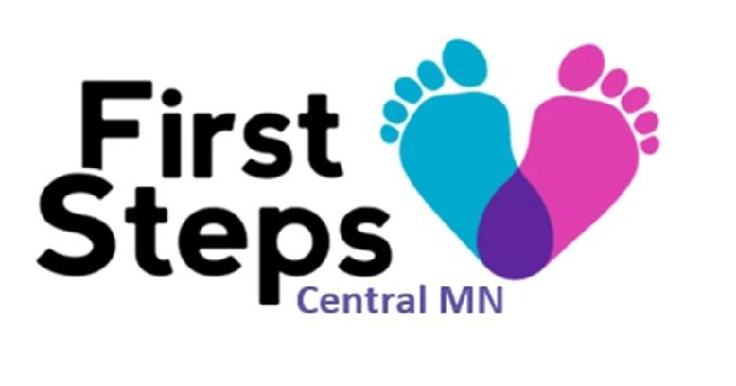 First Steps Central MN logo with image of one blue and one pink footprints in a heart shape.