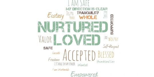 nurtured, love, accepted, blessed, supported, safe, tranquility, self-respect, clarity, focused