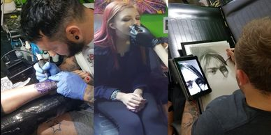 Tattoo, piercing, drawing.