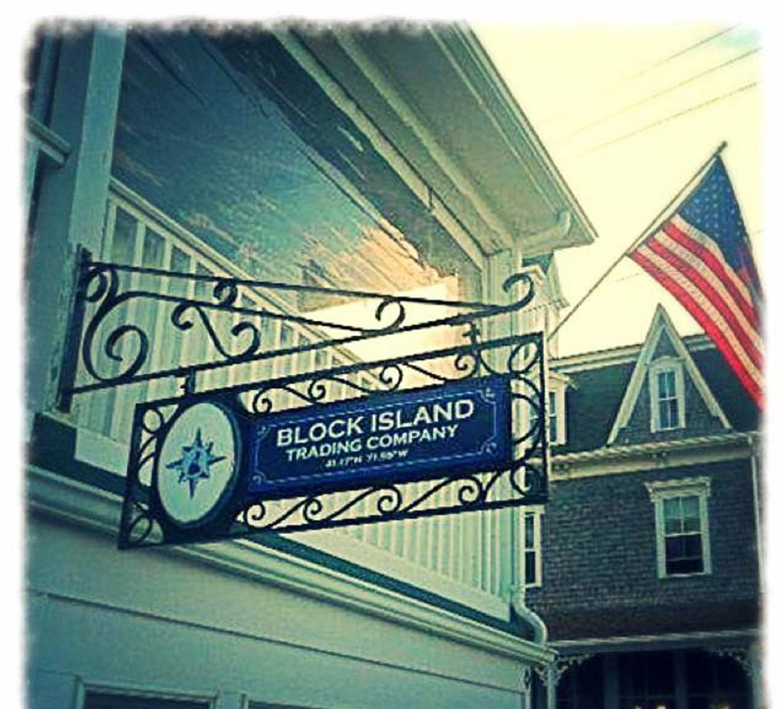 A view of the sign for the Block Island Trading Company at The National Hotel with the Surf Hotel