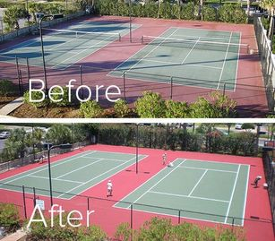 Before and After photo of a resurfaced Tennis Court.