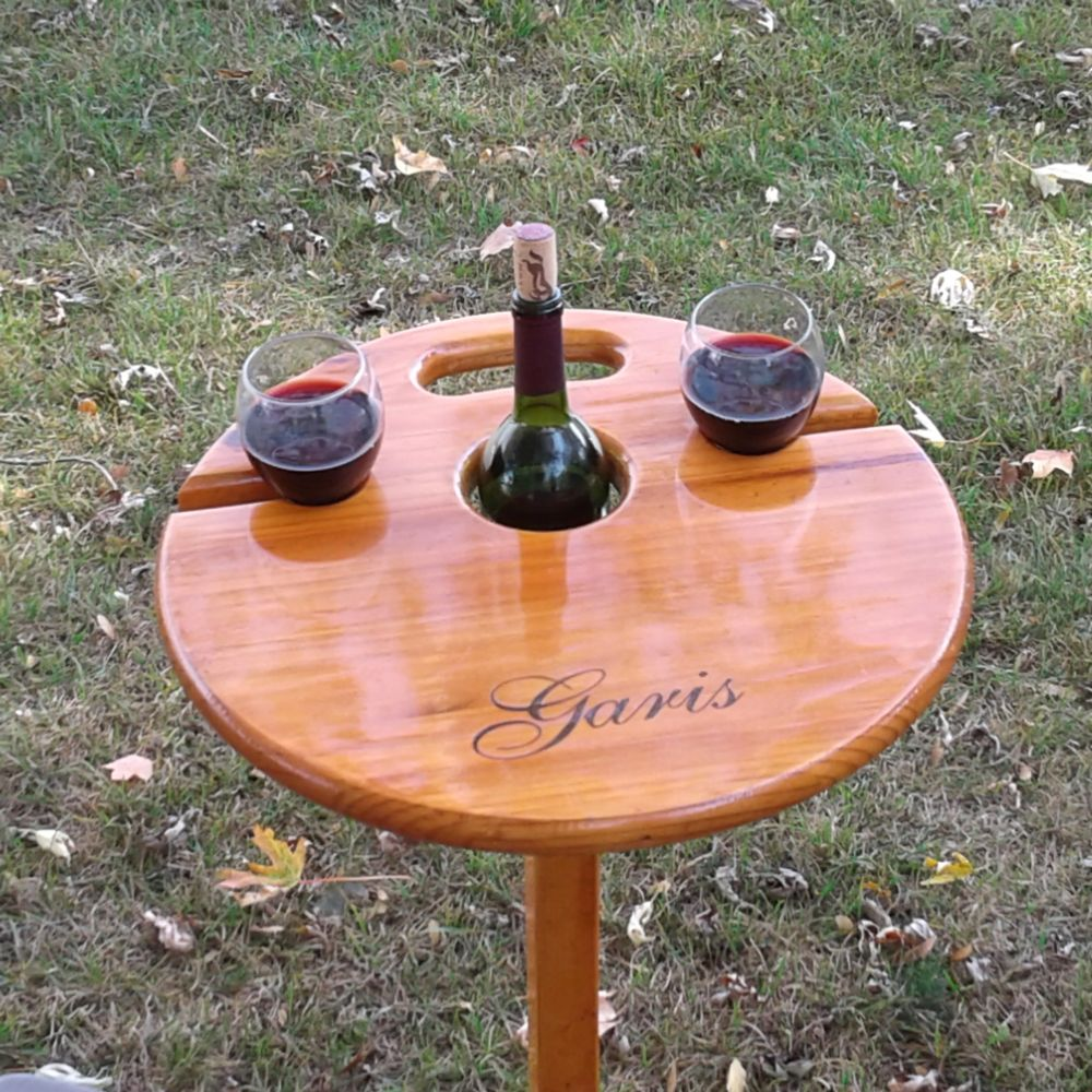 Personalized portable wine table. A unique gift for weddings, Christmas, retirement, birthdays, etc.