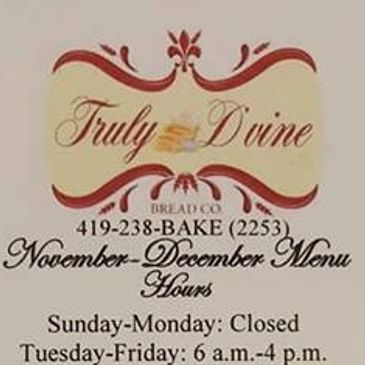 Truly D'Vine November & December monthly specials.