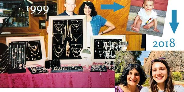 Jewelry business founders and owners with their jewelry table, baby photo, mother and daughter.