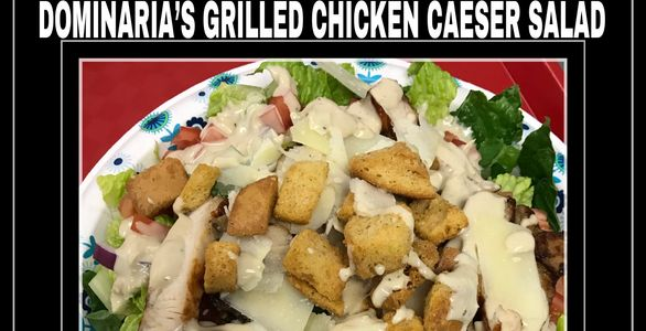 Grilled chicken on fresh romaine - tomatoes, croutons - shaved Parmesan cheese & homemade Caesar