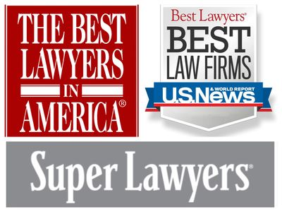 Best Lawyers in America, Best Law Firms, and SuperLawyers logo