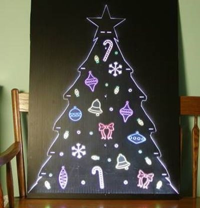 Illuminated flat christmas tree decals
