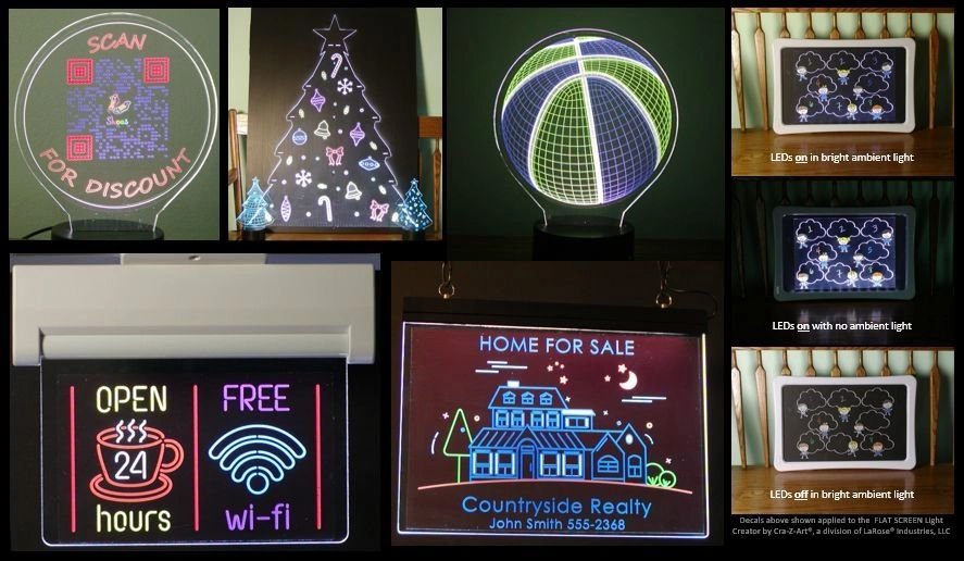 Illuminated graphics suitable for signage, toys, holiday decorations.