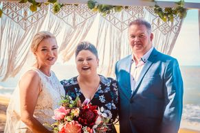Blessings by Kate Bellman Celebrant bride groom beach Trinity  arbour wedding ceremony marriage