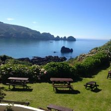 View of Moulin Huet Bay from the Tearoom