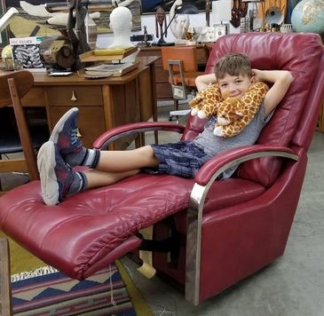 leather mid century recliner