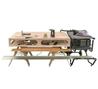 The Paulk compact workbench. These portable workbenches are designed to be lightweight and mobile.