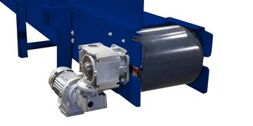 Example of a Worm Drive Gearbox.  Helical Bevel Gearbox used on Heavy Duty Conveyor.