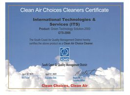 GTS-2000 SCAQMD Clean Air Choices Cleaners Certificates