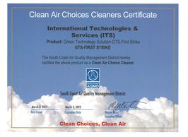 GTS-First Strike - SCAQMD Clean Air Choices Cleaners Certificates