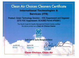 GTS-VOCSuppressant SCAQMD Clean Air Choices Cleaners Certificate