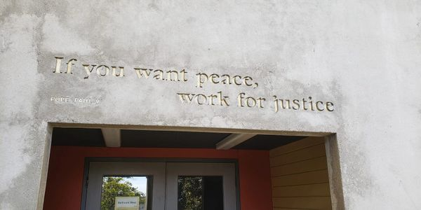 "Image says ""If you want peace, work for justice"""