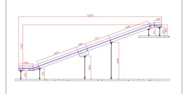 A technical drawing showing a side elevation of a two way mezzanine loading conveyor.
