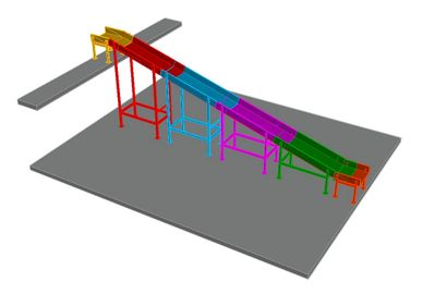 A 3 dimensional representation of a parcel chute designed to serve a  mezzanine floor.
