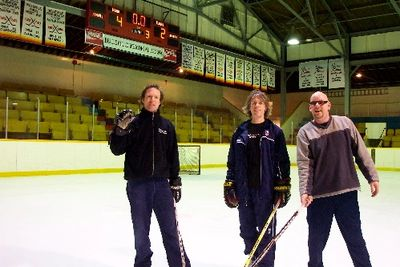 L to R: Doug Elliott, Craig Northey and Steve Hilliam on the ice at Memorial Arena.