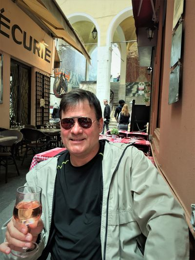 Dr. Z enjoying a glass of rosé in Nice, France-2016