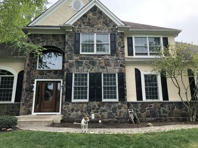 New stone cladding and front door installation in Kennett Square, PA