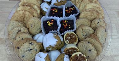 Assortment Dessert Tray. Cookies, brownies, pecan tarts, pumpkin