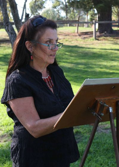 Painting en plein air, at Monsalvat Artists' Community, Victoria.
