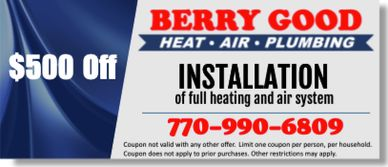 coupon for full heating and air system installation in McDonough, GA